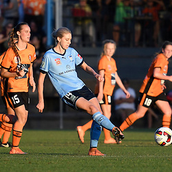 BRISBANE, AUSTRALIA - OCTOBER 30: Alanna Kennedy of Sydney passes the ball during the round 1 Westfield W-League match between the Brisbane Roar and Sydney FC at Spencer Park on November 5, 2016 in Brisbane, Australia. (Photo by Patrick Kearney/Brisbane Roar)