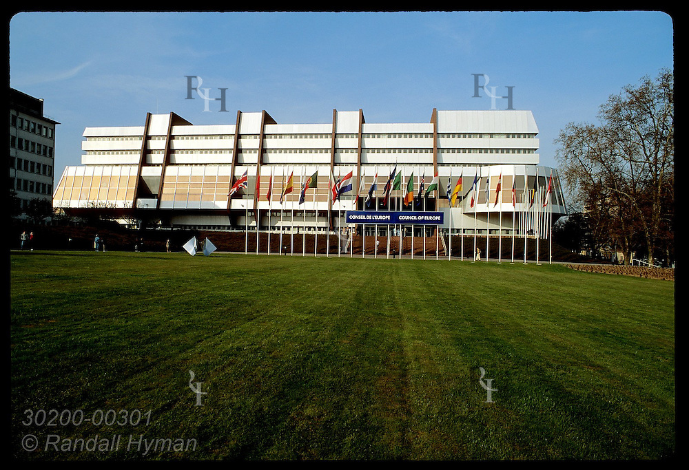 Modernistic headquarters of Council of Europe are fronted by an extensive lawn; Strasbourg. France