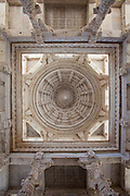 Dome of central hall ceiling detail at The Ranakpur Jain Temple at Desuri Tehsil in Pali District of Rajasthan, Western India