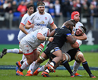 Rugby Union - 2019 / 2020 European Rugby Heineken Champions Cup - Pool Three: Bath vs. Ulster<br /> <br /> Ulster Rugby's Marcel Coetzee is tackled by Bath Rugby's Beno Obano, at The Recreation Ground.<br /> <br /> COLORSPORT/ASHLEY WESTERN