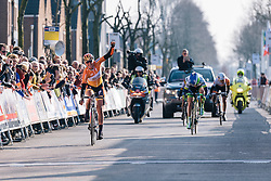 Chantal Blaak wins the sprint ahead of Gracie Elvin and Trixi Worrack in third place - Ronde van Drenthe 2016, a 138km road race starting and finishing in Hoogeveen, on March 12, 2016 in Drenthe, Netherlands.