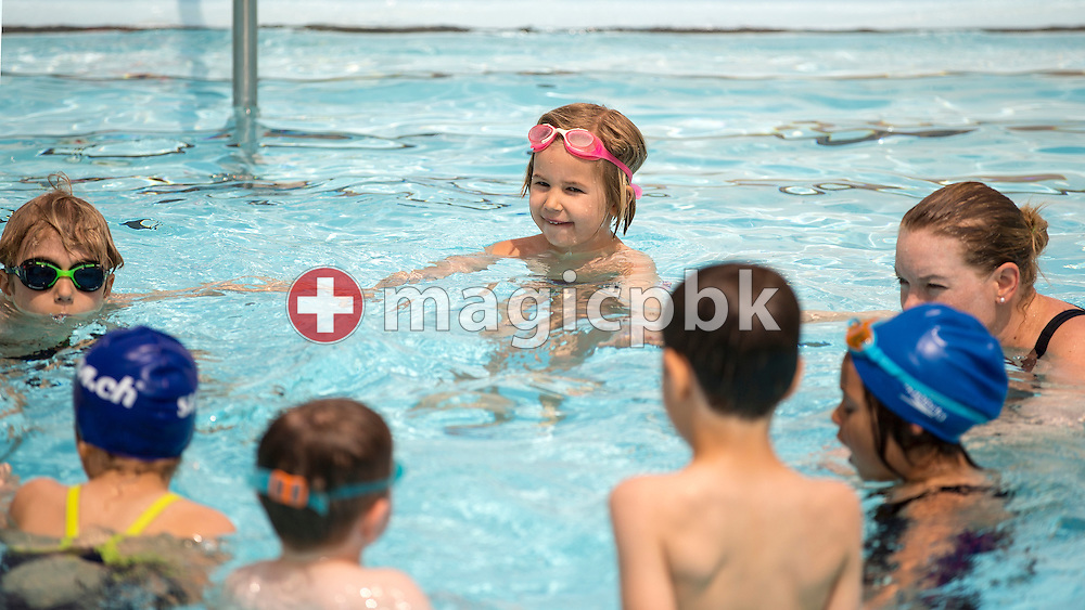 Kids learn how to swim in SV Basel's swimming school during a photo session at the Sportbad St. Jakob in Basel, Switzerland, Saturday, May 23, 2015. (Photo by Patrick B. Kraemer / MAGICPBK)