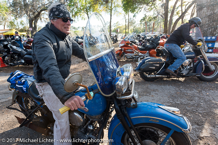 Kurt Klokkenga on his Harley-Davidson Panhead in the Cycle Source Magazine show at the Broken Spoke Saloon during Daytona Beach Bike Week. FL. USA. Tuesday, March 14, 2017. Photography ©2017 Michael Lichter.