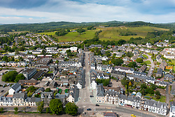 Aerial view from drone of Lochgilphead in Argyll & Bute, Scotland, UK
