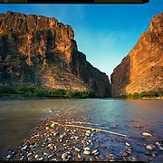 Sunrise on the Rio Grande at Santa Elena Canyon, Big Bend National Park. 4x5 Kodak Ektar 100. photo by Nathan Lambrecht