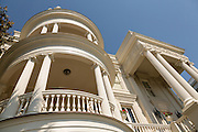 Circular piazzas on the Porcher-Simonds House on East Battery in historic Charleston, SC.