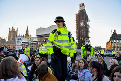 © Licensed to London News Pictures 15/02/2019 London, UK. Police attempt to encourage schoolchildren to disperse and move away from a blockade of Westminster Bridge. At the close of a day of protest, students who took the day off school to protest inaction over climate change move from Parliament Square to Westminster Bridge and stage a sit-down blocking traffic at rush hour. Photo credit: Guilhem Baker/LNP