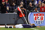 10 February 2006: A photographer gets a close up shot of Taylor Twellman (below) of the United States as he slides past the corner flag while celebrating his goal in the 50th minute that gave the U.S. a 3-0 lead. The United States Men's National Team defeated Japan 3-2 at SBC Park in San Francisco, California in an International Friendly soccer match.