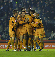 Photo: Dave Linney.<br />Derby County v Wolverhampton Wanderers. Coca Cola Championship. 18/11/2005. Tom Huddleston (Second from right) celebrates his goal for Wolves.