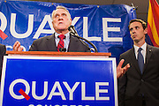 15 AUGUST 2012 - PHOENIX, AZ: Sen JON KYL (R-AZ), left, and Rep BEN QUAYLE (R-AZ) at a press conference Wednesday. Arizona's Republican US Senators, John McCain and Jon Kyl, announced their endorsement of Congressman Ben Quayle (R-AZ) during a press conference in Phoenix Wednesday. They decried the campaign being run by Quayle's opponent, Congressman David Schweikert (R-AZ). Both Quayle and Schweikert are freshman Congressmen from neighboring districts. They were thrown into the same district during the redistricting process and are now waging a bitter primary fight against each other.    PHOTO BY JACK KURTZ