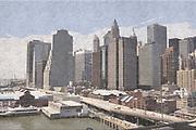 Digitally enhanced image of New York City skyline as seen from the Brooklyn Bridge