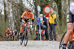 Chantal Blaak descends of Kemmelberg for the second and final time - Women's Gent Wevelgem 2016, a 115km UCI Women's WorldTour road race from Ieper to Wevelgem, on March 27th, 2016 in Flanders, Belgium.