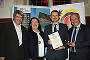 NO FEE PICTURES<br /> 25/1/19 Pól O Conghaile, winner of the Travel Writer of the Year (overall), presented by Teresa Gancedo, Director of the Spanish Tourism Office and Eoghan Corry, editor of Travel Extra pictured at the Travel Extra Travel Journalist of the Year 2018 at the Clayton Hotel, Ballsbridge in Dublin. Picture; Arthur Carron