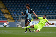 Billy Paynter, the Hartlepool United captain tackles Sido Jombati of Wycombe Wanderers. Skybet football league two match, Wycombe Wanderers v Hartlepool Utd at Adams Park in High Wycombe, Bucks on Saturday 5th Sept 2015.<br /> pic by John Patrick Fletcher, Andrew Orchard sports photography.
