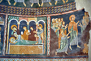 Interior Byzantine Romanesque style Christian frescoes of biblical scenes, Santissima Trinita di Saccargia, consecrated 1116 AD, Codrongianos, Sardinia. .<br /> <br /> Visit our MEDIEVAL PHOTO COLLECTIONS for more   photos  to download or buy as prints https://funkystock.photoshelter.com/gallery-collection/Medieval-Middle-Ages-Historic-Places-Arcaeological-Sites-Pictures-Images-of/C0000B5ZA54_WD0s<br /> If you prefer to buy from our ALAMY PHOTO LIBRARY  Collection visit : https://www.alamy.com/portfolio/paul-williams-funkystock/basilica-santissima-sardinia.html