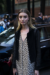 September 22, 2017 - Milan, Italy - A guest is wearing a Versace before the Versace fashion show during Milan Fashion Week Spring/Summer 2018 on September 22, 2017 in Milan, Italy. (Credit Image: © Nataliya Petrova/NurPhoto via ZUMA Press)