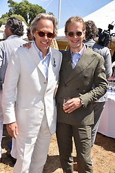 The Duke of Richmond and his son the Earl of March at the 'Cartier Style et Luxe' enclosure during the Goodwood Festival of Speed, Goodwood House, West Sussex, England. 15 July 2018.