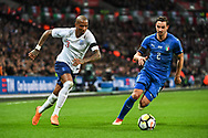 England Midfielder Ashley Young (3) and Italy Defender Mattia De Sciglio (2) in action during the Friendly match between England and Italy at Wembley Stadium, London, England on 27 March 2018. Picture by Stephen Wright.