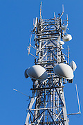 microwave and mobile radio antennas on cellsite tower on Mt Coot-tha, Brisbane <br /> <br /> Editions:- Open Edition Print / Stock Image