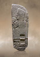 Photo of Hittite monumental relief sculpted orthostat stone panel of a Procession Basalt, Karkamıs, (Kargamıs), Carchemish (Karkemish), 900 - 700 B.C. Anatolian Civilisations Museum, Ankara, Turkey.<br /> <br /> Goddess Kubaba. End of pannels. The godess is saeted on a chair which is on a lion. she hold a mirror in her right hand and a pomegranate in her left.<br /> <br /> Against a brown art background. .<br />  <br /> If you prefer to buy from our ALAMY STOCK LIBRARY page at https://www.alamy.com/portfolio/paul-williams-funkystock/hittite-art-antiquities.html  - Type  Karkamıs in LOWER SEARCH WITHIN GALLERY box. Refine search by adding background colour, place, museum etc.<br /> <br /> Visit our HITTITE PHOTO COLLECTIONS for more photos to download or buy as wall art prints https://funkystock.photoshelter.com/gallery-collection/The-Hittites-Art-Artefacts-Antiquities-Historic-Sites-Pictures-Images-of/C0000NUBSMhSc3Oo