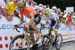 July 6, 2019 - Brussels, Belgium - Belgian Greg Van Avermaet of CCC Team and Belgian Xandro Meurisse of Wanty-Gobert Cycling Team pictured in action during the first stage of the 106th edition of the Tour de France cycling race, 194,5km from and to Brussels, Belgium, Saturday 06 July 2019. This year's Tour de France starts in Brussels and takes place from July 6th to July 28th. (Credit Image: © Yuzuru Sunada/Belga via ZUMA Press)