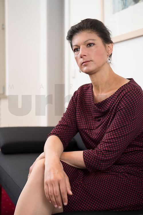 16 MAY 2016, BERLIN/GERMANY:<br /> Sahra Wagenknecht, MdB, Die Linke, Fraktionsvorsitzende DIe Linke Bundestagsfraktion, waehrend einem Interview, in ihrem Buero, Jakob-Kaiser-Haus, Deutscher Bundestag<br /> IMAGE: 20170516-02-038<br /> KEYWORDS: Büro