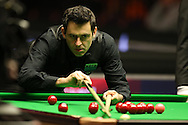 Ronnie O'Sullivan during his match against Yu De Lu . Betvictor Welsh Open snooker 2016, day 4 at the Motorpoint Arena in Cardiff, South Wales on Thursday 18th Feb 2016.  <br /> pic by Andrew Orchard, Andrew Orchard sports photography.