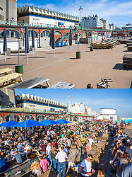 © Licensed to London News Pictures. 04/04/2020. Brighton, UK. Comparison of Brighton and Hove beach today versus April 4th 2019. Photo credit: Hugo Michiels/LNP