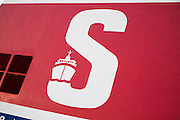 Large capital letter S on ship funnel, Stena Ferry, Hook of Holland to Harwich service, Netherlands to UK