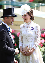 The Duchess of Cambridge with Prince William during day one of Royal Ascot at Ascot Racecourse.