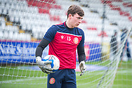 Stevenage goalkeeper Billy Johnson (13) warming up during the EFL Sky Bet League 2 match between Stevenage and Morecambe at the Lamex Stadium, Stevenage, England on 6 February 2021.