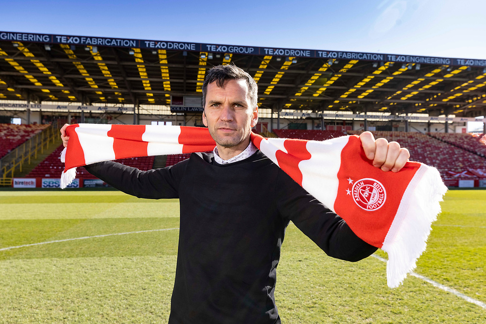 ABERDEEN FC NEW MANAGER MEETS THE MEDIA AFTER STARTING NEW JOB<br /> <br /> PIC OF STEPHEN GLASS AT PITTODRIE STADIUM WITH CHAIRMAN DAVE CORMACK<br /> PIC DEREK IRONSIDE / NEWSLINE MEDIA