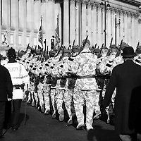 The Irish Guard return home to a warm welcoming by the people of Liverpool
