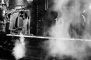 Engine and detail of engine, Yosemite Mountain Sugar Pine Railroad, Fish Camp, California, USA; no MR on file.