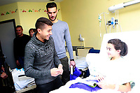 Getafe CF's Francisco Portillo (l) and Filip Manojlovic during the Christmas visit to the Children's Hospital of the city. December 12,2017. (ALTERPHOTOS/Acero)
