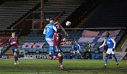 Jonson Clarke-Harris of Peterborough United heads in the equalising goal against Ipswich Town - Mandatory by-line: Joe Dent/JMP - 09/02/2021 - FOOTBALL - Weston Homes Stadium - Peterborough, England - Peterborough United v Ipswich Town - Sky Bet League One