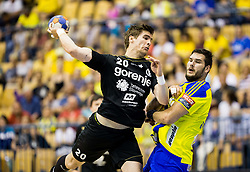 Luka Mitrovic of Gorenje vs Kristjan Beciri of Celje during handball match between RK Celje Pivovarna Lasko and RK Gorenje Velenje in Last Round of 1. Liga NLB 2016/17, on June 2, 2017 in Arena Zlatorog, Celje, Slovenia. Photo by Vid Ponikvar / Sportida