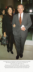Actress GAYLE HUNNICUTT and her husband journalist MR SIMON JENKINS, at a party in London on 30th October 2001.OTP 10