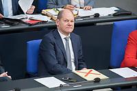 21 MAR 2019, BERLIN/GERMANY:<br /> Olaf Scholz, SPD, Bundesfinanzminister, Bundestagsdebatte zur Regierungserklaerung der Bundeskanzlerin zum Europaeischen Rat, Plenum, Deutscher Bundestag<br /> IMAGE: 20190321-01-071