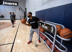 G League Ignite head coach Jason Hart passes out basketballs during a workout with the team on Tuesday, Sept. 28, 2021 in Walnut Creek, Calif.