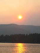 Sun setting over Flathead Lake