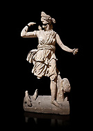Roman statue of Hunting Artemis .Marble. Perge. 2nd century AD. Inv no .Antalya Archaeology Museum; Turkey. Against a black background. .<br /> <br /> If you prefer to buy from our ALAMY STOCK LIBRARY page at https://www.alamy.com/portfolio/paul-williams-funkystock/greco-roman-sculptures.html . Type -    Antalya     - into LOWER SEARCH WITHIN GALLERY box - Refine search by adding a subject, place, background colour, museum etc.<br /> <br /> Visit our ROMAN WORLD PHOTO COLLECTIONS for more photos to download or buy as wall art prints https://funkystock.photoshelter.com/gallery-collection/The-Romans-Art-Artefacts-Antiquities-Historic-Sites-Pictures-Images/C0000r2uLJJo9_s0