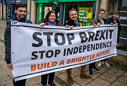 """Pictured: Alex Cole-Hamilton<br /><br />Scottish Liberal Democrat Campaign Chair Alex Cole-Hamilton was campaigning with activists in Edinburgh today and accused the Labour party of being """"double ditherers"""" on the two main issues of the day -  Brexit and independence.<br />Ger Harley 