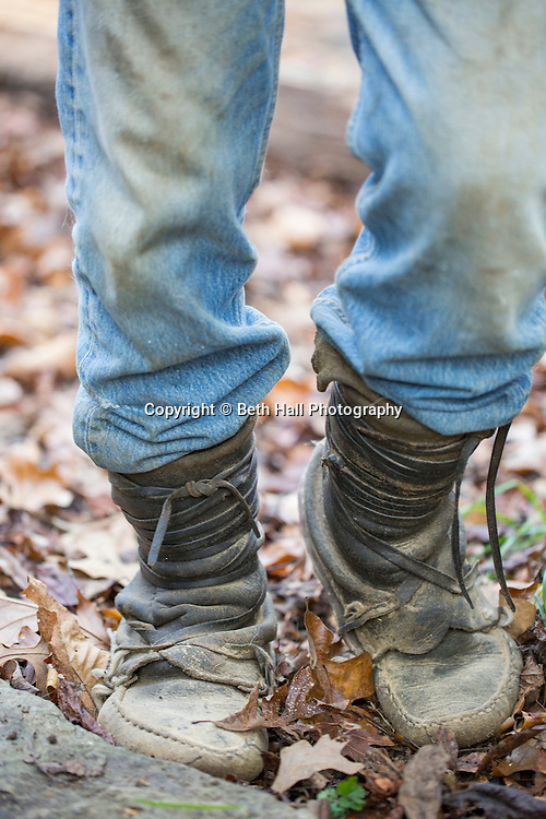 Detail of the moccasins Robert Runyan made and was wearing outside of home in Sugar Tree Hollow in Winslow, Arkansas, for Out Here Magazine. Photo by Beth Hall
