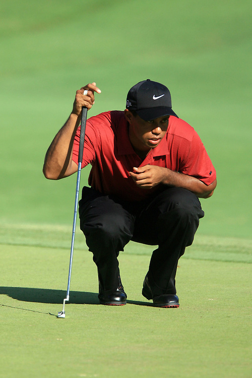 12 August 2007: Tiger Woods analyzes the 16th green during the final round of the 89th PGA Championship at Southern Hills Country Club in Tulsa, OK.