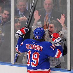 May 12, 2012: New York Rangers center Brad Richards (19) celebrates his goal with during first period action in game 7 of the NHL Eastern Conference Semi-finals between the Washington Capitals and New York Rangers at Madison Square Garden in New York, N.Y.
