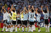 Hamburg 10/6/2006 World Cup 2006<br /> <br /> Argentina Cote d'Ivoire - Argentina Costa d'Avorio 2-1<br /> <br /> Photo Andrea Staccioli Graffitipress<br /> <br /> Argentinian players celebrate at the end of the match<br /> <br /> I giocatori argentini festeggiano a fine partita
