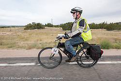 Brent Hanson of California riding his Class-1, single-cylinder, single-speed, belt drive 1913 Shaw Motorcycle during the Motorcycle Cannonball Race of the Century. Stage-10 ride from Pueblo, CO to Durango, CO. USA. Tuesday September 20, 2016. Photography ©2016 Michael Lichter.
