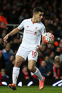 Philippe Coutinho of Liverpool in action.The Emirates FA cup, 4th round replay match, West Ham Utd v Liverpool at the Boleyn Ground, Upton Park  in London on Tuesday 9th February 2016.<br /> pic by John Patrick Fletcher, Andrew Orchard sports photography.