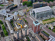 Nederland, Zuid-Holland, Rotterdam; 14-05-2020; Rotterdam Blaak en Markthal met omgeving (Dominee Jan Scharpstraat, Hoogstraat, Kolk, Binnenrotte): het is zeer rustig  op straat ten gevolge van de 'intelligente lockdown' en de corona crisis. Weinig publiek.<br /> City centre, Market hall and environment, it is very quiet on the street due to the 'intelligent lockdown' and the corona crisis.<br /> <br /> luchtfoto (toeslag op standard tarieven);<br /> aerial photo (additional fee required)<br /> copyright © 2020 foto/photo Siebe Swart